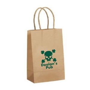"Recycled Tan Kraft Paper Shopping Bag (5 1/2""x3 1/4""x8 3/4"")"